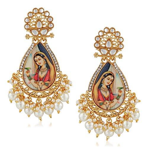 Meenaz Traditional Pearl Jewellery Gold Rani Padmavati Jhumki Party Wear Stylish Jhumka Earrings For women Girls Jewellery set for girls women - jhumki earrings-229
