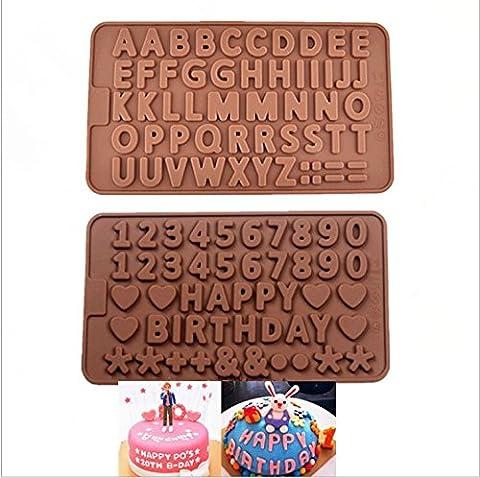 Jeu de 2 Moules Chocolat en Forme de Lettres et de Chiffres