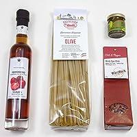 Italienische Feinkost: Pasta mit Olive + Tomaten-Balsamico + Trüffel-Carpaccio + Bird´s Eye Chili