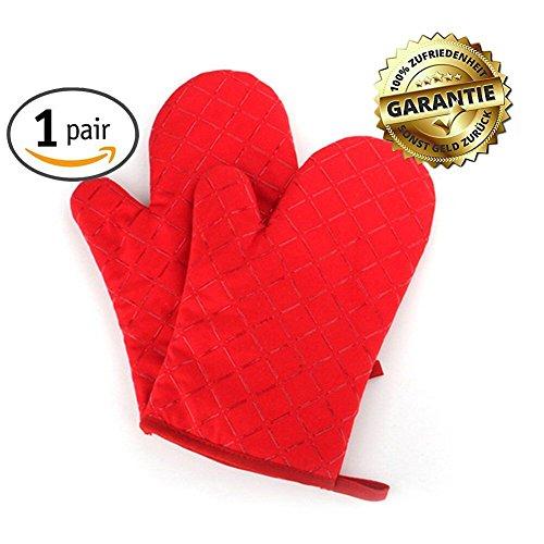 Ofenhandschuhe Topflappen Handschuh Backofenhandschuhe Hitzebeständig Handschuhe Pusheng (Rot)