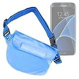 DURAGADGET Riñonera Azul Para Smartphone Samsung Galaxy Trend S7560 / Ace S5830i / Motorola Moto E