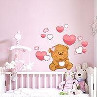 R00224 Adesivo murale per bambini Wall Art - Orsetto cuori e fiori - Misure 40x90 cm - Decorazione parete, adesivi per muro, carta da parati