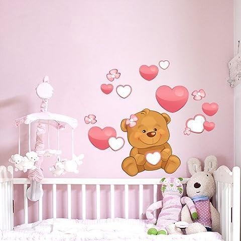 R00224 Pegatina Adhesivo Vinilo Decorativo Pared Wall Art - Oso de peluche de corazones y flores