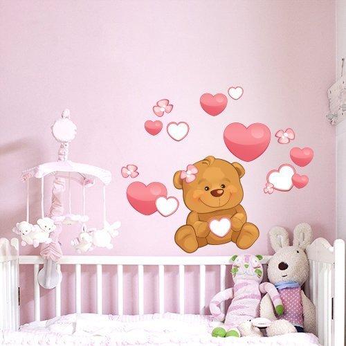 Wall Art R00224 Adesivo Da Parete Per Bambini Piccolo Orso Cuore
