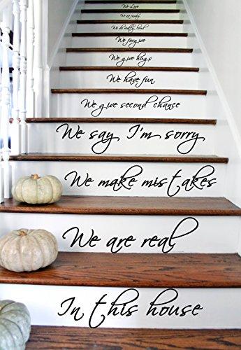 AnOL Vinyl Treppenaufkleber Zitat In This House We Are Family We Love Do/inspirierend (39x70 cm)