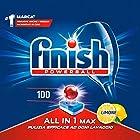 Finish All in 1 Max Pastiglie Lavastoviglie, Limone, 100 Tabs