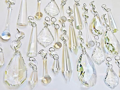 24 Klar Transparent Mix Standard XL Kronleuchter Tropfen Set Bunte Glas Crystals Perlen Vintage Chic Hochzeit Christbaumschmuck Prismen Art Deco Retro Tropfen Licht Lampe Handwerk Teile -