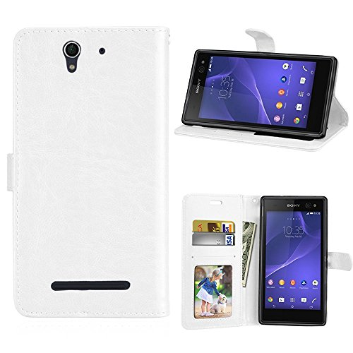 Casefirst Sony Xperia C3 Series Wallet case Protective Skin Double Layer Bumper Shell Shockproof Impact Defender Protective Case Series for Sony Xperia C3, White -