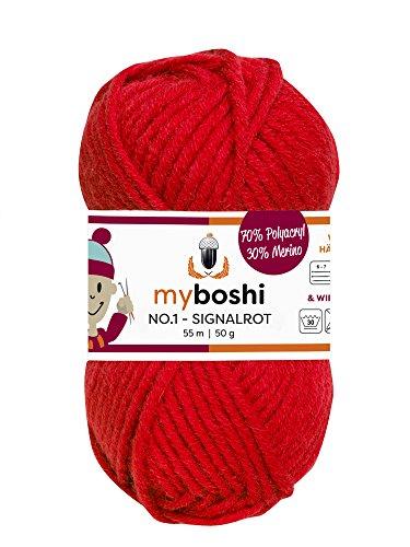 Myboshi (132 signalrot) Merino Wolle/Acrylgarn No. 1 zum stricken, häkeln und für die Handarbeit (55m/50gr) -