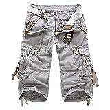 ZKOO Kurzen Hosen Cargo Shorts Herren Sommer Kurze Hose Bermuda Shorts Baumwolle Outdoor Shorts mit Multi-Tasche Hell Grau