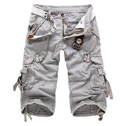 Zkoo uomo vintage cargo shorts con tasconi laterali estivi bermuda pantaloni corti sportivo pantaloncini militari cargo pantaloncini grigio chiaro