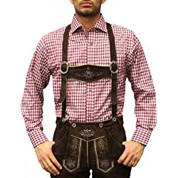 Checkered Traditional Bavarian Shirt for lederhosen/Oktoberfest Red, Size:L (disfraz)