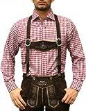 Trachtenhemd für Oktoberfest trachten lederhosen wiesn Hemd rot/kariert 100% Baumwolle, Hemdgröße:S