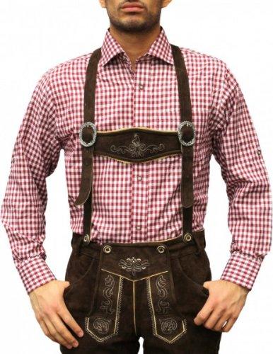 Trachtenhemd für trachten lederhosen wiesn freizeit Hemd rot/kariert, Hemdgröße:M