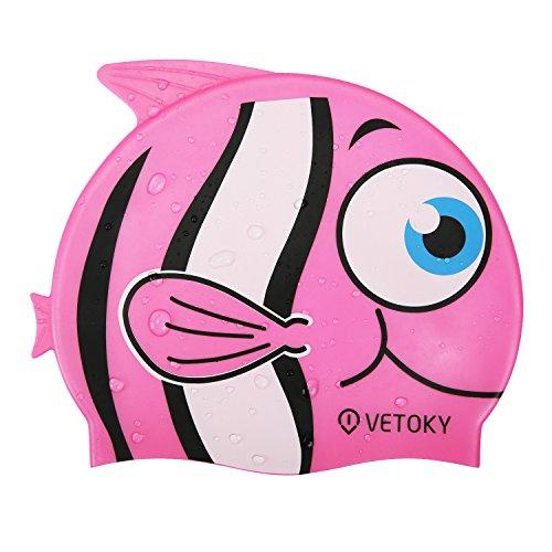 Vetoky cuffie-nuoto-bimba-adulto-piscina-professionali swim cap bambino graduati nero/blu/argento/rosa cappello triathlon bambina gara da impermeabili 6-14 anni mare impermeabile silicone (pez rosa)