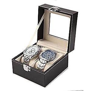 Sasairy Caja para Reloj Piel Sintética Caja de Almacenaje para Relojes con Tapa de Cristal Soporte de Exhibición de Relojes Caja Vitrina Organizador para Reloj Joyas de Sasairy