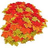Herbst Dekoration Ahornblatt, Muscccm 400 Stück Verschiedene gemischte Herbst farbige künstliche Ahornblätter für Hochzeiten, Thanksgiving, Veranstaltungen und Outdoor Maple Leaf Cafe Dekoration - 4
