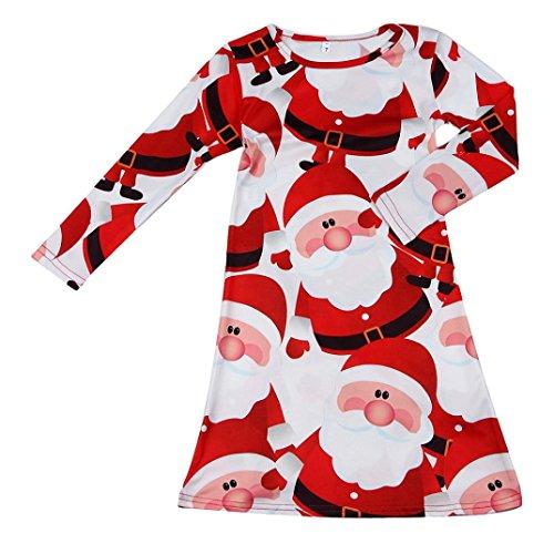 Hunpta Kinder Baby roten Santa Claus Xmas Langarm Swing Party Kleid (110, (Kleider Santa Für Babys Claus)