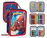 Marvel Spiderman 49034 Astuccio Triplo Riempito, 44 Accessori Scuola, 20 Centimetri