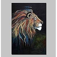 ZYT Pintado a mano moderno abstracto León animal pintura al óleo sobre lienzo Imagen de arte de la pared con marco listo para colgar . 40*60cm