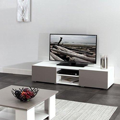 LIME Meuble TV 140 cm - Blanc et taupe