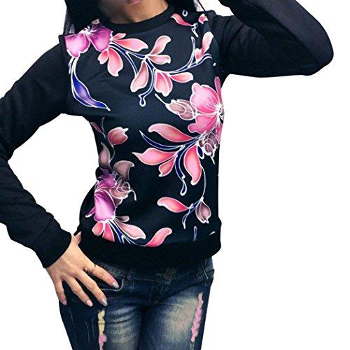 Felpa Donna Koly Top donna di moda Camicetta manica lunga Camicia rossa a collo rotondo T-shirt casual stampata Black