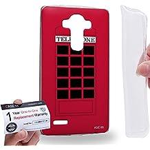 Case88 [LG G4] Gel TPU Carcasa/Funda & Tarjeta de garantía - Art Fashion Design Retro Red London Telephone Box Art1953