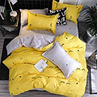 Morbuy Duvet Cover Sets, Duvet Cover & Pillowcase Set Bedding Bedding Bedroom 3Pcs 2 x Pillowcases 1 x Quilt Case for Single Double King Size Bed (Double-200x200CM, Yellow eyelashes)