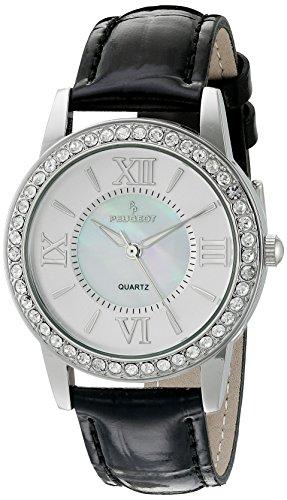 peugeot-damen-silber-kristall-lnette-schwarz-lederband-armbanduhr