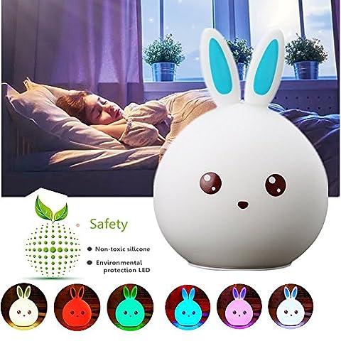 Silikon Nachtlicht Baby, Chickwin Mini Bewegliches LED Weiche Silikon Kaninchen Kinder Baby Lampe Für Kind-Erwachsenen Schlafzimmer USB nachladbares Beleuchtung Touch Verfärben Das Perfekte Geschenk (Blaues