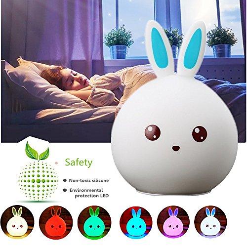 Silikon Nachtlicht Baby, Chickwin Mini Bewegliches LED Weiche Silikon Kaninchen Kinder Baby Lampe Für Kind-Erwachsenen Schlafzimmer USB nachladbares Beleuchtung Touch Verfärben Das Perfekte Geschenk (Blaues Häschen) (Leuchten Tennis Schuhe)
