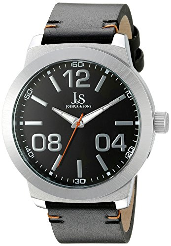Joshua & Sons Men's JX103SSB Silver Quartz Watch with Black Dial and Black Leather Strap