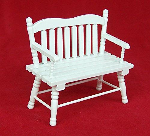 Preisvergleich Produktbild Miniatur Gartenbank aus Holz, weiß lackiert. Für 1:12 Puppenstuben.