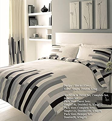 Duvet Cover and Pillowcase Set Quilt Bedding Set With Pillow Cases Single Double King Super King Size Blocks Printed Reversible - low-cost UK light shop.