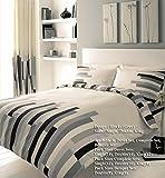 G&H - Juego de Funda nórdica y Funda de Almohada para Cama Doble, diseño de Cuadros, Color Crema y Negro