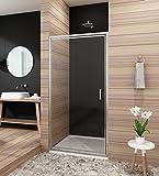 Duschtür nische 90cm Glas Nischentür dusche Pendeltür Duschabtrennung nische Duschwand Höhe 185cm klar