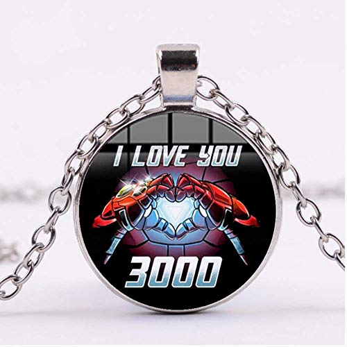 VAWAA Iron Man Tony Stark Heart I Love You 3000 Times Necklace Fashion The Avengers 4 Endgame 3D Printed Glass Dome Round Pendant