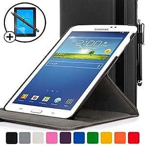 ForeFront Cases® - Étui en cuir synthétique avec support pour Samsung Galaxy Tab 3 7.0 3G + WiFi Smart Case Cover + stylet et protection écran
