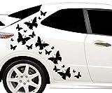 17x teiliges Set Auto Aufkleber Schmetterlinge butterfly Hibiskus Blumen Hawaii Seitenaufkleber Heckscheibe 2C180
