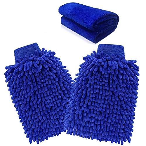 XZANTE Mikrofaser-Handschuh, Autowaschhandschuh (3-Pack) Nudel Mikrofaser Waschhandschuh Auto Reinigung Mikrofaser-Handschuh Mit Poliertuch