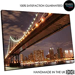 Large Framed Canvas Print - Modern Wall Art - HD Quality Picture - 100% Guaranteed - Brooklyn Bridge New York - Living & Bedroom Home DÃcor with Easy Hang Guide - SC004 150cm x 100cm - WOYW
