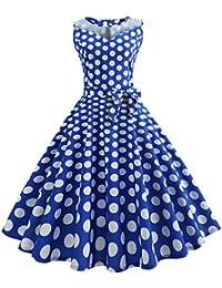 95eb0899f993 50er Vintage Kleider, Loveso ❤ Damen Vintage Polka Dots A-linie Ohne Arm  Rockabilly Kleid Cocktailkleider Swing Kleider…