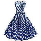 50er Vintage Kleider, Loveso ❤️ Damen Vintage Polka Dots A-Linie Ohne Arm Rockabilly Kleid Cocktailkleider Swing Kleider 1950er Retro Sommerkleid (Blau(mit Mesh)❤️, L)