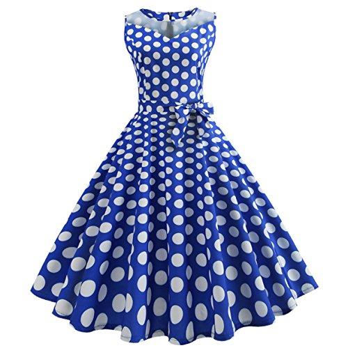 , Loveso ❤️ Damen Vintage Polka Dots A-linie Ohne Arm Rockabilly Kleid Cocktailkleider Swing Kleider 1950er Retro Sommerkleid (Blau(Mit Mesh)❤️, S) (Kinder 50er Jahre Kostüme)