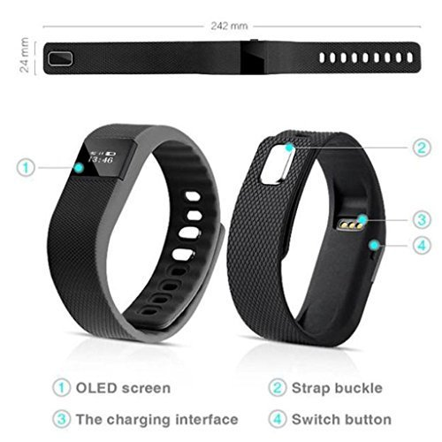 Attachments Bluetooth LED Fitness Band Activity Tracker compatible with iOS, Android