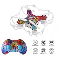 Mini RC Quadcopter CX-10D Small Drone with Altitude Hold and 3D Flips 2.4Ghz 6-Axis Gyro 4 Channels Nano Drone Rechargeable Helicopter with Protective Case for Kids and Beginners (Rainbow) from Cellstar EUP Co.LTD