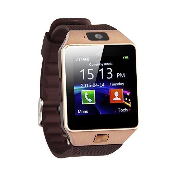 reloj de telefono elegante - TOOGOO(R) DZ09 Reloj de telefono inteligente de Bluetooth para telefono inteligente de Samsung iphone HTC Android con camara de telefono SIM oro 1