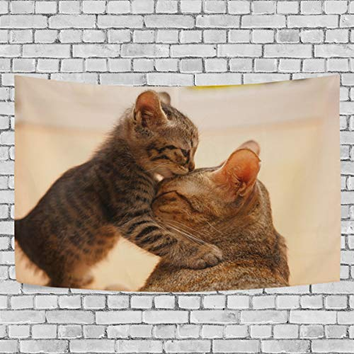 COCO-La Wall Tapestry,Wall Hanging,Tender Moment Between A Cat and Her Kitten Reactive Tapestry...