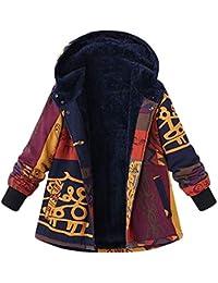 POLP Abrigos mujer Abrigo de Invierno de Mujer Invierno de algodón Suelto cálidos Bolsillos Estampados más