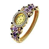 Oven Moda Montre à Quartz Cristal Bracelet Manchette Bracelet Pour Femmes Dames Or Plaqué Fleur Bijoux Perimeter:20.5cm(Purple)